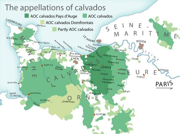 Le zone di produzione del Calvados